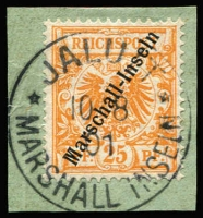 Lot 1387:1897-1900 Overprints 25pf yellowish-orange Mi #5IIa tied to piece by fine strike of 'JALUIT/10/08/01/MARSHALL INSELN' datestamp, Cat €1,100. Very scarce. Michael Jaschke-Lantelme Photo-Certificate (2017).