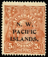 Lot 1213:1915-16 KGV Single Wmk 5d brown variety Retouched NW Corner [1L25] (BW #123k), mild gum toning, MLH, Cat $150 (as an unoverprinted stamp).