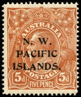 Lot 1214:1915-16 KGV Single Wmk 5d brown variety Notched left frame above lower corner [1L57] (BW #122r), mildly aged gum, mint, Cat $150 (as an unoverprinted stamp).