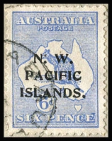 Lot 2201 [1 of 2]:1915-16 Kangaroos 1st Wmk 6d type a SG #78 variety Defective Second 'E' of 'PENCE' tied by Rabaul datestamp (well clear of variety) on multi-franked Rabaul local cover with Roos to 1/-, KGV Heads to 5d including 1d red Die II plus GRI 1d on 3pf optd 'OS' (both scarce on cover); cover has been open-out for display, with some minor blemishes. A howling rarity which is unlisted by Gibbons, however they do list the more common Retouched 'E' variety SG #78a at £8,500 used! As unoverprinted used stamps Defective 'E' is listed at $2,000 and Retouched 'E' at $1,500. Tim Rybak's Collection did not contain a single example of the Defective 'E' flaw.