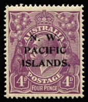 Lot 1218 [2 of 3]:1918-23 KGV New Colours 4d violet mint varieties x3 comprising [1] White notch in bottom frame at left corner [1R25] (BW #111(1)n), rounded corner, Cat $150 (as an unoverprinted stamp); also unlisted [2] Broken top line of shading to right of crown, toned gum, MVLH & [3] Colour flaw adjoining top left corner of left value tablet & roo's leg, MLH. (3)