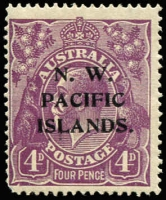 Lot 1218 [3 of 3]:1918-23 KGV New Colours 4d violet mint varieties x3 comprising [1] White notch in bottom frame at left corner [1R25] (BW #111(1)n), rounded corner, Cat $150 (as an unoverprinted stamp); also unlisted [2] Broken top line of shading to right of crown, toned gum, MVLH & [3] Colour flaw adjoining top left corner of left value tablet & roo's leg, MLH. (3)