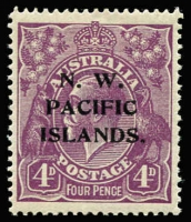 Lot 1218 [1 of 3]:1918-23 KGV New Colours 4d violet mint varieties x3 comprising [1] White notch in bottom frame at left corner [1R25] (BW #111(1)n), rounded corner, Cat $150 (as an unoverprinted stamp); also unlisted [2] Broken top line of shading to right of crown, toned gum, MVLH & [3] Colour flaw adjoining top left corner of left value tablet & roo's leg, MLH. (3)