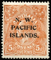 Lot 1411:1918-23 KGV Single Wmk 5d brown variety Retouched shading lines behind kangaroo - third state [1L55] (BW #123p), well centred, fine mint, Cat $150 (as an unoverprinted stamp).
