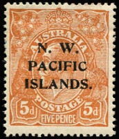 Lot 1376:1918-23 KGV Single Wmk 5d brown variety Damaged NE corner - State II [1L59] (BW #123sa), well centred, hinge remnants, Cat $150 (as an unoverprinted stamp).