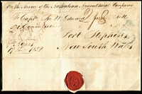 "Lot 2128:1832 (Jan 27) inbound outer from London headed ""On the Service of the Australian Agricultural Company"" addressed to ""Captn Sir W. Edward Parry"" (the company's Commissioner in charge of NSW enterprises), and sent ""Pr Agnes/17Jan'y1832"", endorsed ""2oz"" & ""2/8"" with '(Crown)/GENERAL POST OFFICE/12JU12/1832/SYDNEY' Type S3 oval arrival datestamp in blue, forwarded to Port Stephens with manuscript ""Received at Lambton from Sydney, 15 June 1832."" Important early correspondence pertaining to pastoral trade development in NSW. [The rate of 2/8d equated to 8d per ½oz x4 for a letter up to 2oz]"