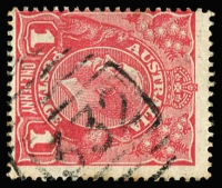 Lot 1109:1332: (A2) Type 4B large-part strike on 1d red KGV, [Rated 5R].  Allocated to Brindabella-RO 1/10/1884; PO 9/1/1886; closed 2/2/1974.