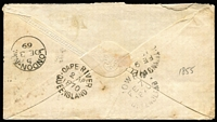 "Lot 2135 [2 of 2]:1869 (Dec 3) cover from England to Queensland addressed to ""R. Gray Esq, Hughenden Station"" with 10d red-brown QV tied by St Albans '675' duplex, 1870 backstamps for Bowen (Feb 7), Townsville (Feb 9) and Cape River (Apr 2, superb strike Rated RRRRR), backflap missing otherwise quite fine condition. [The addressee, Robert Gray founded the Hughenden Station, which was named after his birthplace Hughenden Manor in Buckinghamshire]"