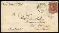 "Lot 2135 [1 of 2]:1869 (Dec 3) cover from England to Queensland addressed to ""R. Gray Esq, Hughenden Station"" with 10d red-brown QV tied by St Albans '675' duplex, 1870 backstamps for Bowen (Feb 7), Townsville (Feb 9) and Cape River (Apr 2, superb strike Rated RRRRR), backflap missing otherwise quite fine condition. [The addressee, Robert Gray founded the Hughenden Station, which was named after his birthplace Hughenden Manor in Buckinghamshire]"