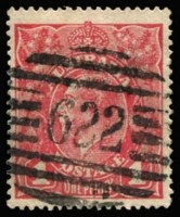 Lot 802:622: (A2) superb largely complete Type 2b on KGV 1d red, [Rated 3R].  Allocated to Macknade-RO c.1901; PO c.-/10/1902; closed 29/10/1993.