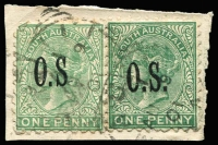 Lot 1006 [1 of 2]:Overprint Varieties: used including 1876-80 2d orange P10 Misplaced overprint (trimmed perfs), 1891-96 1d green x2 on piece one with No stop after 'S' SG #O54c (defective corner) and 1899-1901 Wide Setting 2d violet Misplaced overprint x2. (4 items)