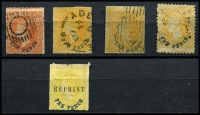 Lot 1018 [2 of 2]:1860-73 10d Surcharges Selection with Blue Surcharges 1860-69 second Roulettes 10d on 9d orange-red x2 & 10d on 9d yellow x2, 1868-79 10d on 9d yellow plus a Crown/SA rouletted reprint, used, Cat £200+. (6)