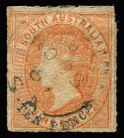 Lot 1003 [1 of 2]:1860-73 10d Surcharges Selection with Blue Surcharges 1860-69 second Roulettes 10d on 9d orange-red x2 & 10d on 9d yellow x2, 1868-79 10d on 9d yellow plus a Crown/SA rouletted reprint, used, Cat £200+. (6)