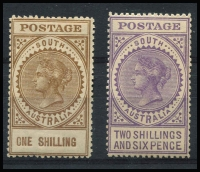 Lot 1005 [2 of 3]:1906-12 Thick 'POSTAGE' Wmk Crown/A Perf 12,12½ 3d to 5/- set SG #298-305, a few low values with minor gum adhesions, fine mint overall, Cat £250+. (8)
