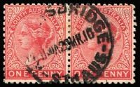 Lot 1327:Knightsbridge: (B2) large-part Type CMT (27mm) strike on 1d red QV pair [Rated 4R].  PO 1/3/1882; closed 23/5/1911.