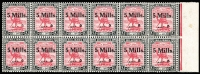 Lot 1537:1940 Surcharges 5m on 10m carmine & black, marginal block of 12, with variety Broken Iam, SG #78d, MUH, Cat £87+.