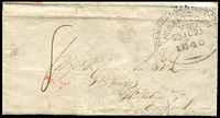 Lot 2154 [1 of 3]:1840 (Jun 23) entire to England with fine and largely complete strike of 'GENERAL (crown) POST OFFICE/HOBART TOWN/VDL/23JU23/1840' large oval datestamp in black (black ink used in 1840 only) with 8th November arrival datestamp in red. The contents advise of the healthy state of trade in the Colony especially for rum, whisky & sherry, with the writer advising that wines should be sent out in exchange for wools, some trivail aging.