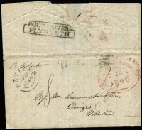 "Lot 993 [2 of 3]:1842-46 Commercial Entires concerning liquor trading between Tasmania & England addressed to Carrington & Sons of Devizes each rated ""4"" for ship letter rate & ""8"" for inwards ship letter rate due, with weak Hobart departure datestamps and 'SHIP LETTER' handstamps on reverse comprising [1] 1842 (Jun 2) ""per Agostino"" with Devizes 'SP21/1842' arrival datestamp on face; [2] 1842 (Jun 7) ""per Earmont"" with Devizes 'DE4/1842' arrival datestamp on face, contents advising of the inclusion of a First of Exchange drawn by Derwent Bank on their agent in London; [3] 1846 (Jan 9) ""per Calcutta"" with Devizes '24AP/1846' arrival datestamp on face; fine condition overall, with typed annotations."