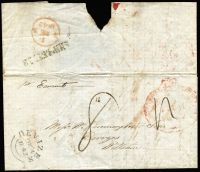 "Lot 993 [3 of 3]:1842-46 Commercial Entires concerning liquor trading between Tasmania & England addressed to Carrington & Sons of Devizes each rated ""4"" for ship letter rate & ""8"" for inwards ship letter rate due, with weak Hobart departure datestamps and 'SHIP LETTER' handstamps on reverse comprising [1] 1842 (Jun 2) ""per Agostino"" with Devizes 'SP21/1842' arrival datestamp on face; [2] 1842 (Jun 7) ""per Earmont"" with Devizes 'DE4/1842' arrival datestamp on face, contents advising of the inclusion of a First of Exchange drawn by Derwent Bank on their agent in London; [3] 1846 (Jan 9) ""per Calcutta"" with Devizes '24AP/1846' arrival datestamp on face; fine condition overall, with typed annotations."