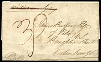 "Lot 898:1843 entire to Edinburgh, date on reverse ""Port Phillip 1st Feby 1843"", rated ""3"" for ship letter rate pre-paid at Melbourne, 'MELBOURNE/FE4/NEW SOUTH WALES' oval departure backstamp, sent overland to Sydney for shipment on vessel with imminent departure, boxed 'INDIA LETTER/FALMOUTH' applied upon arrival. [Prior to Melbourne becoming an important port in the mid-1840s mail was often routed through Sydney]"