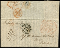 "Lot 2157:1846 (Jul 17) Toulmin packet entire to England endorsed ""p Louisa via Sydney"", rated ""2/6"", weak Hobart crown oval '11JU11/1846' departure datestamp in red, Calcutta GPO boxed transit datestamp, Devizes '29DE/1846' arrival datestamp on face. Contents discuss the wine trade in Hobart."