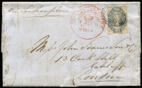 Lot 2386 [1 of 2]:1864 (Aug 9) entire to London with imperf 6d dull slate-grey Chalon (just shaved at left, o/w complete margins) tied by Hobart grid cancel, with fine strike of 'GENERAL-POST-OFFICE/HOBART TOWN/(crown)9AU9/1864' datestamp alongside, on reverse 'THOs D. CHAPMAN & Co/AGENTS FOR LLOYD's/HOBART TOWN' label in brown & yellow sealing the letter, London 'OC20' arrival backstamp.