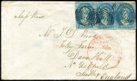 Lot 2158 [2 of 2]:1864 (Jul 23) cover to England with all-over advertising on reverse for William Wood & Sons 'The Old Savings's Bank' Drapery Warehouse, franked with imperf 4d bright blue SG #38 strip of 3 paying 6d per ½oz double rate, used from Hobart to London. Superb example of early advertising envelope.