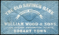 Lot 2158 [1 of 2]:1864 (Jul 23) cover to England with all-over advertising on reverse for William Wood & Sons 'The Old Savings's Bank' Drapery Warehouse, franked with imperf 4d bright blue SG #38 strip of 3 paying 6d per ½oz double rate, used from Hobart to London. Superb example of early advertising envelope.