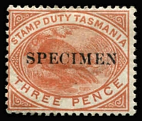 Lot 2141 [1 of 3]:1880-1901 Platypus Stamp Duty Overprinted 'SPECIMEN': with Horizontal Overprint 3d & 6d, and Overprint Reading Downwards 3d x2, 6d & 1/- x2; also optd 'REPRINT' Reading Downwards 1d x2 and 6d x2; also Reading Upwards 1d; with or without gum, generally fine, Elsmore Online Cat $475. (12)