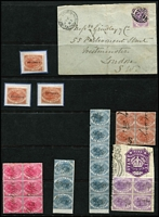 Lot 2142 [2 of 5]:1880-1929 Platypus Stamp Duty Accumulation: with plenty better items including 1880-1900 6d strip of 7, and block of 4 on piece with Victoria 9/- purple Impressed Duty & 1/- block of 6 all pen cancelled, plus 1/- with Plate #1 margin tab unused, 1900 optd 'REVENUE' to 1/- x26 mostly with Stamp Act datestamps, 1929 9d green x5 including strip of 3, 9d Surcharge on No Value Expressed, 7/6d on No Value Expressed x3 (one rouletted), 9d on No Value Expressed rouletted x4; also some postally used oddments including 6d mauve SG #F28 tied by BN '28' on 1883 cover from New Town to London; condition variable but mostly fine. (190+)