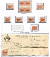 Lot 1114 [2 of 2]:Stamp Duty: 1900 3d Platypus P14 optd 'REVENUE' Craig #7.49 on Exhibit page with mint x6 including gutter block of 4, also unused example with misplaced overprint and postally used with Current No #8 tab, plus fiscally used x5, one on a commercial invoice. (13)