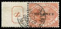 Lot 1114 [1 of 2]:Stamp Duty: 1900 3d Platypus P14 optd 'REVENUE' Craig #7.49 on Exhibit page with mint x6 including gutter block of 4, also unused example with misplaced overprint and postally used with Current No #8 tab, plus fiscally used x5, one on a commercial invoice. (13)