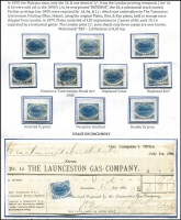 Lot 2144 [3 of 7]:Stamp Duty: 1900 1d to 1/- P11¾ optd 'REVENUE' Craig #7.52-7.55 selection annotated on exhibit pages with 1d x11 including varieties Inverted overprint, Overprint omitted & Double overprint all mint, plus Value misplaced high used; 2d x9 including Value omitted x2 mint; 6d mint & fiscally used x11 including block of 7 and usage on Bill of Exchange, also P14 example with fake overprint and cancel; 1/- fiscally used x11 including strip of 3, plus varieties on singles 'REVENUF', 'BEVENUE' & 'REVENUK' plus used on Bill of Exchange; condition generally fine, described items alone Elsmore Online Cat $1,000+. (43)