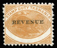 Lot 2144 [1 of 7]:Stamp Duty: 1900 1d to 1/- P11¾ optd 'REVENUE' Craig #7.52-7.55 selection annotated on exhibit pages with 1d x11 including varieties Inverted overprint, Overprint omitted & Double overprint all mint, plus Value misplaced high used; 2d x9 including Value omitted x2 mint; 6d mint & fiscally used x11 including block of 7 and usage on Bill of Exchange, also P14 example with fake overprint and cancel; 1/- fiscally used x11 including strip of 3, plus varieties on singles 'REVENUF', 'BEVENUE' & 'REVENUK' plus used on Bill of Exchange; condition generally fine, described items alone Elsmore Online Cat $1,000+. (43)