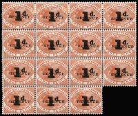 Lot 1117 [1 of 6]:Stamp Duty: 1903 Surcharges annotated on Exhibit Pages with 1d on 3d Sloping Top to '1' (Type c) variety Overprint double mint, Sloping Top to '1' & Flat Top to '1' (Type b) in blocks of 4 & 6, plus singles of both types postally used, also mint Inverted '1d.' surcharges for Types b & c including corner (bcb) strip of 3 centre unit 'REVENUF' lower unit 'REVENUK'; 1d on 3d Base & arm at left (Type d) mint block of 15 (4x3+3) the third row (4 units) with Notch in '1', also strip of 3 postally used with Mangana datestamps, and single stamp with Inverted surcharge fiscally used, also pair on Grand Lodge receipt & single on attractive Tatlow's Royal Mail Coach illustrated cheque; 4d on 3d x6 including mint pair and a single with Current No #8 tab, also a fiscally used example on receipt; condition generally fine. A very good lot. (85)
