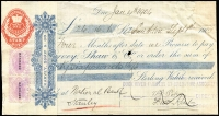 Lot 2152 [1 of 5]:Impressed Stamp Duty: on cheques or receipts with [1] Tasmania Impressed Duty on cheques x4 comprising With Date Plugs 6d, Without Date Plugs 6d x2 & 1/-; [2] Victoria Impressed Duty on cheques with Tasmania Platypus Duties added x5 including 1901 1/- with 1/- optd 'REVENUE' added, 1904 1/- with 6d optd 'REVENUE' pair added; [3] various cheque or receipts x12 with Platypus Duties added including 1890 with 1/- Platypus tied by large oval 'THE MOUNT BISCHOFF/27JUN90/TIN MINING CO REG' datestamp in violet, etc; Interesting group. (21)