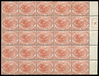 Lot 2139:1880 Platypus Wmk TAS Perf 14 3d chestnut SG #F27 marginal block of 25 with Current No #8 in sheet-edge margin, most units MUH, Cat £625++.