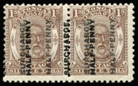 Lot 1693:1894 Surcharges ½d on 1/- brown King George I pair variety Surcharge double SG #22c, fine mint and well above average condition, Cat £550+. BPA Certificate (1962) for then SG #22b.
