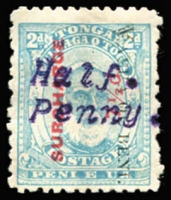 Lot 2242:1896 Typewritten Surcharges Reading downwards ½d on 7½d pale blue variety Stops instead of hyphens SG #37Ad, small part o.g, as always found, Cat £1,100. RPSofL Certificate (2004).