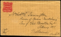 "Lot 1044 [1 of 2]:1853 (May 8) Adams & Co printed envelope addressed to ""Purser of Steamer New Orleans"" care of Adams & Co, Melbourne, 'ADAMS & CO/EXPRESS/16 WALL ST/NEW YORK' shield embossed in red at upper-left, containing original letter dated ""New York May 8th 1853"", envelope with no postal markings, carried per favour or possibly by the company's courier. Very fine condition. Ex Haas & Lancaster. [This lot is accompanied by a copy of Alan Levy's 'Collectors Club Philatelist' May 1982 article ""Adams & Co.'s Express - The Melbourne, Australia, Branch""]"