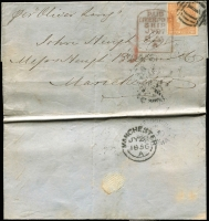 "Lot 785:1856 (Apr 30) entire letter ""per Oliver Lang"" to England with imperf 6d dull orange Woodblock (close to large margins) tied by BN '1' of Melbourne and by a fine strike of 'PAID/LIVERPOOL/SHIP/JY97/1856' tombstone arrival datestamp, Melbourne departure backstamp and very fine Manchester 'JY28/1856' arrival backstamp."