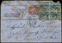 Lot 1224:1869 (Mar 25) registered cover to Switzerland via Marseilles & Suez with scarce franking of Laureates 6d x4 (upper units damaged) plus 2d tied by BN '173' cancels of Daylesford, 'POSS ANG V SUEZ' transit datestamp on face, backstamped at Basel, Lucerne, Maggia & Locarno. Small faults & repaired tear. [The rate was 10d per ½oz rate x2 plus 6d registration. Cover is not recorded in Ben Palmer's census]