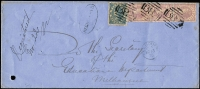 "Lot 1099:1875 (Mar 11) Colonial Bank registered cover to Melbourne with 6d Laureate plus 2d Bell strip of 3 tied by fine strikes of BN '382' of Gaffney's Creek (backstamped), manuscript ""Registered/No22"" endorsement and 'REGISTERED'-in-oval handstamp, cover with puncture at lower-left, otherwise fine condition. [Rate was 2d x3 for letter weighing between 1oz and 1½oz plus 6d registration]"