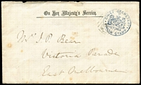 Lot 2177 [1 of 3]:Chief Secretary: Karman #V335.1 handstamp in blue tied by BN '201' of Toorak on 1865 OHMS printed envelope to East Melbourne containing printed invitation to Ball & Supper to celebrate Queen Victoria's birthday held at the Exhibition Buildings, minor blemishes & section of cover flap missing. Rare survivor.