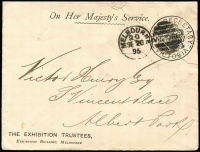 Lot 1268 [1 of 2]:Chief Secretary: Karman #V340.4 handstamp in black 1895 (Sep 20) use on printed OHMS Envelope, inscribed 'THE EXHIBITION TRUSTEES' at lower-left, addressed to Albert Park with South Melbourne '148' arrival duplex on reverse, repaired tear through the frank at upper-right.