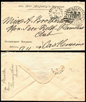 "Lot 2179 [1 of 2]:Chief Secretary: Karman #V340.4 handstamp in black on printed covers x2, each with 'GOVERNMENT BOTANIST' inscription at lower-left, used in 1894 (Nov 17) from South Yarra to Castlemaine or 1895 (Oct 2) from Melbourne to Forth (Tas), the former with manuscript notation ""Von Mueller/name/Cheiranthera linearis"" on reverse, both covers with partially missing flaps, otherwise fine. (2)"