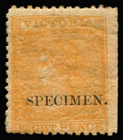Lot 811:1863-73 8d Orange Laureates SG #112 overprinted 'SPECIMEN' Type 1 in seriffed Roman capitals with 'stop', large-part (browned) og. Only four examples in private hands. Ex Les Molnar.