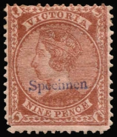 Lot 813:1873-75 9d Pale Brown/Pink Bell SG #172 overprinted in violet-blue with 'Specimen' Type 8 in seriffed Roman lower case with capital 'S', large-part og. The only recorded example.