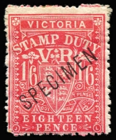 Lot 963:1884-96 1/6d Bright Rose-Carmine Existing Stamp Duty SG #267a overprinted 'SPECIMEN' Type 21 in sans-serif Roman capitals without 'stop', part og. Only two examples in private hands. Ex McCredie.
