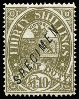 Lot 814:1884-96 £1/10/- Deep Grey-Olive Existing Stamp Duty SG #244 overprinted 'SPECIMEN' Type 16 in sans-serif italic capitals without 'stop', no gum. Only three examples in private hands.